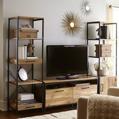 Takat 1 Door Bookcase Natural Mango Living Room Tv