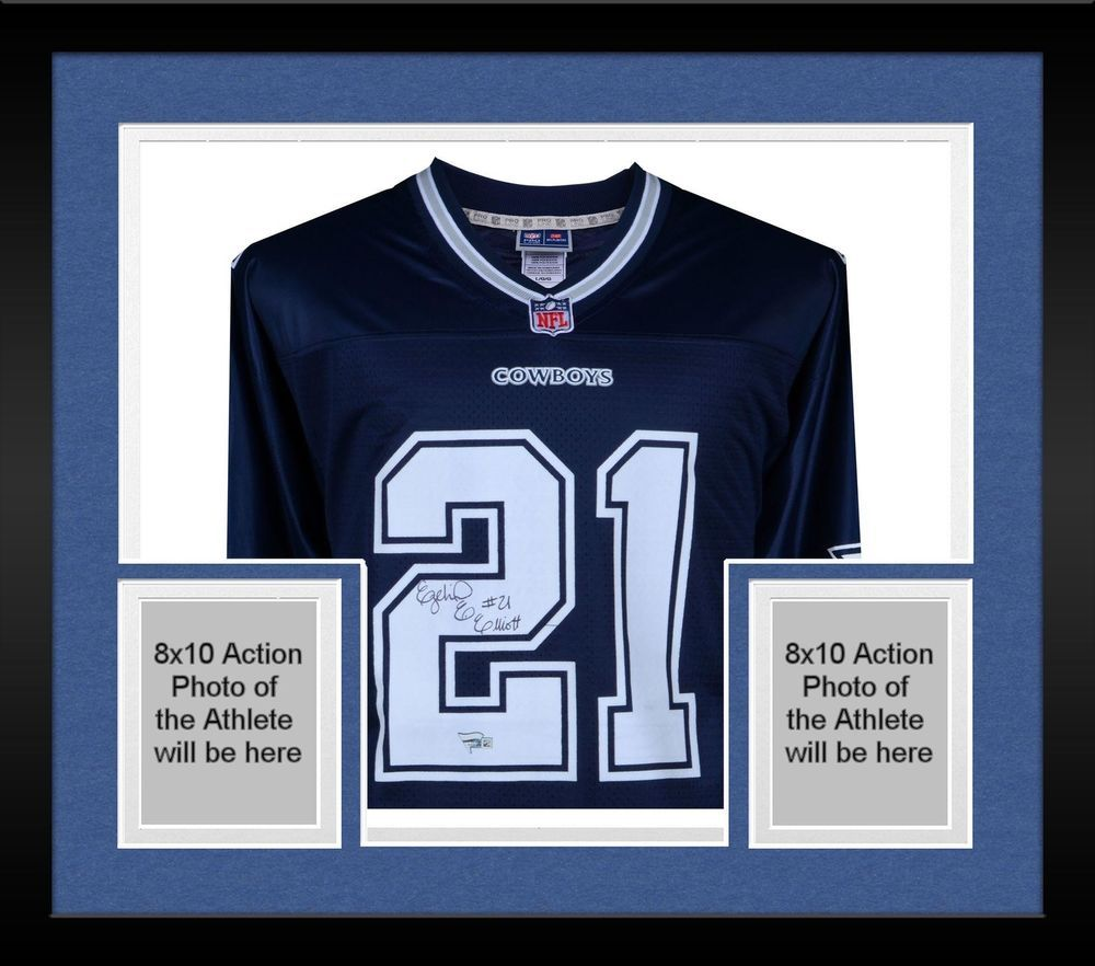 more photos f34b1 a55dc Framed Ezekiel Elliott Dallas Cowboys Signed on Front Navy ...