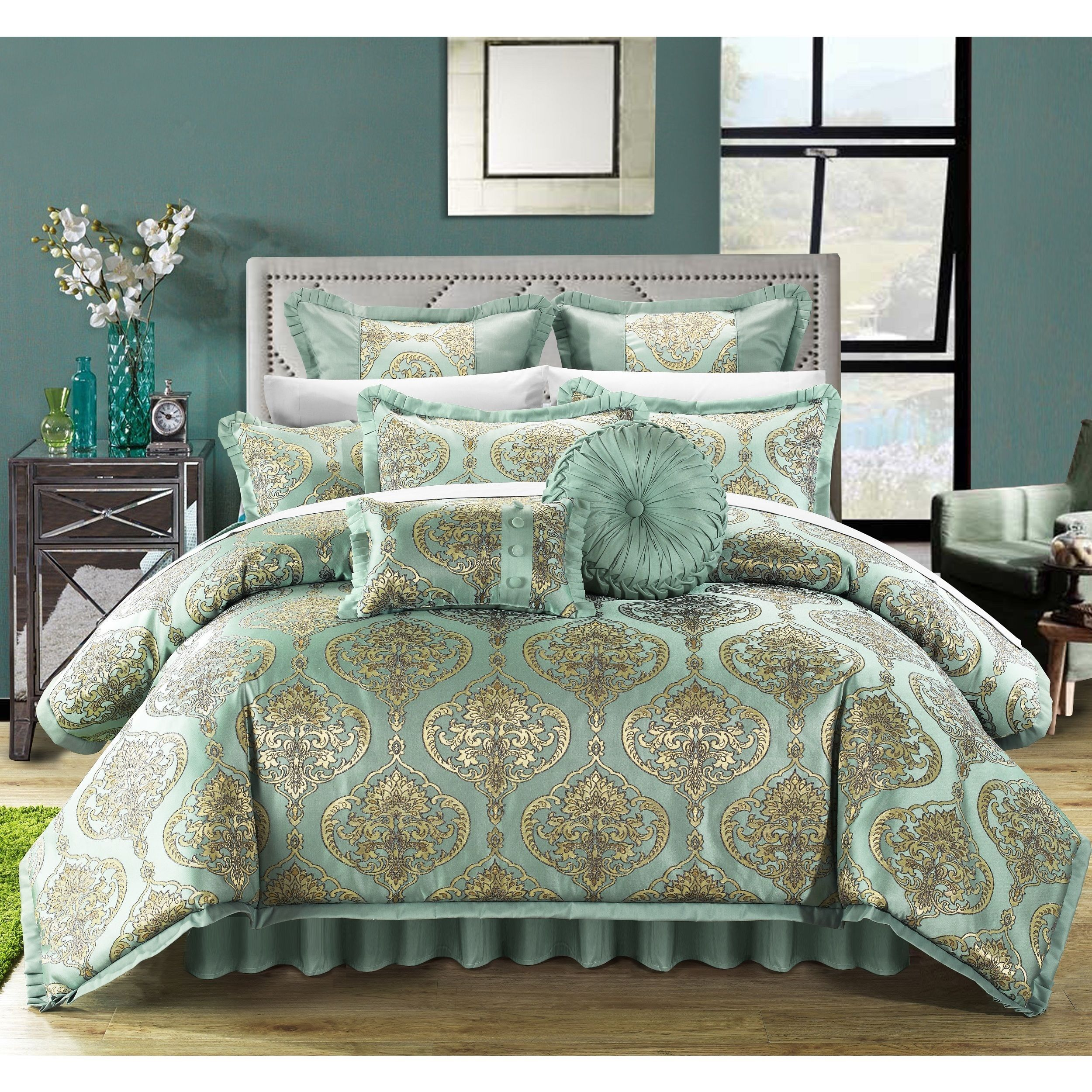 Chic Home Jacquard Motif Fabric 9-piece Comforter Set (Gold - Queen)