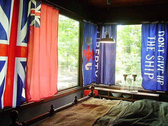 Cool Idea Using Flags As Drapes Curtains Cute Curtains Modern