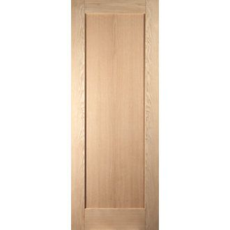 Jeld Wen Unfinished Oak Wooden 1 Panel Shaker Internal Door 2040 X 726mm Doors Interior Traditional Interior Doors Wooden Room Dividers
