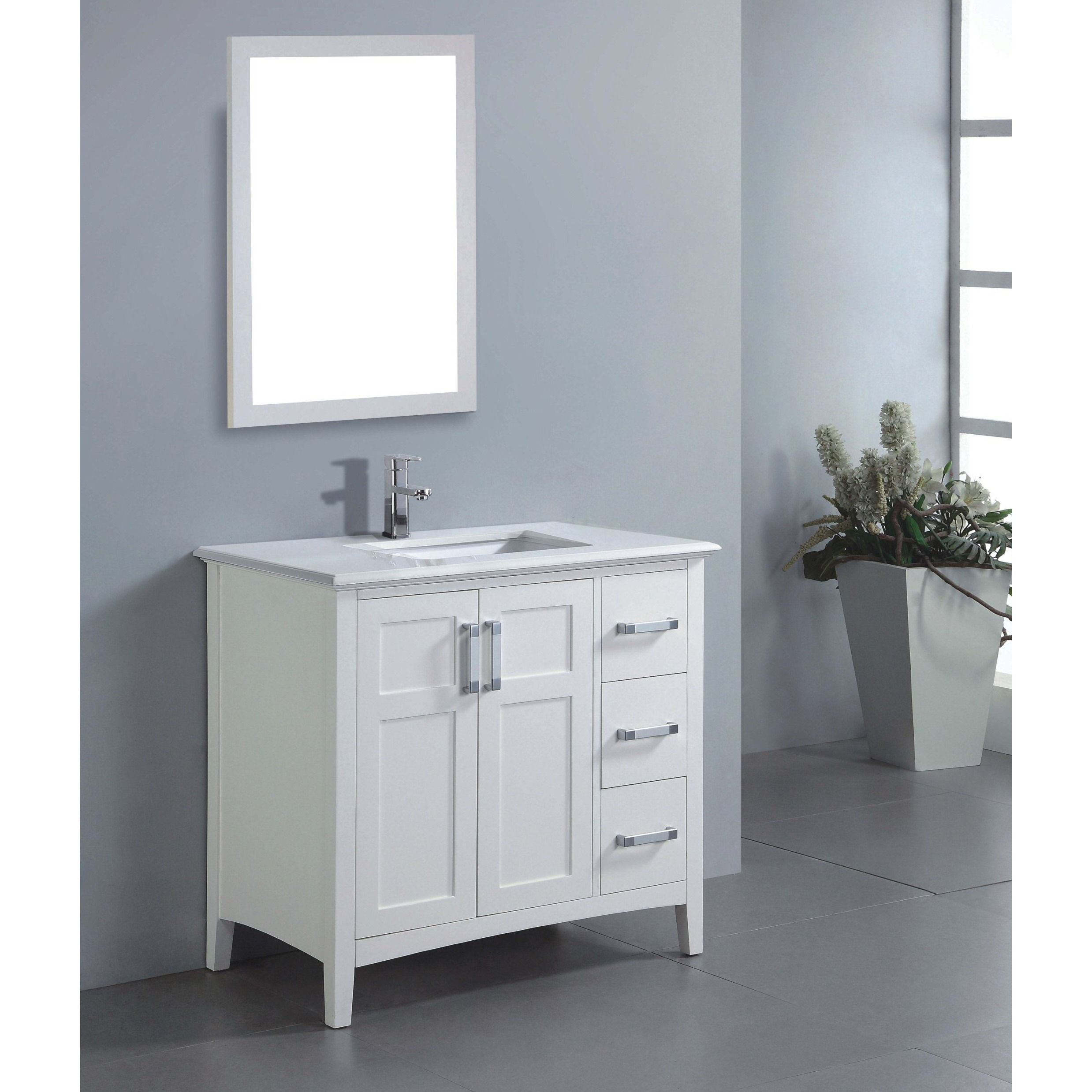 wyndenhall salem 36-inch white quartz marble top single sink