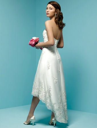 Side view of Alfred Angelo Style 1142. Covered buttons, longer in ...