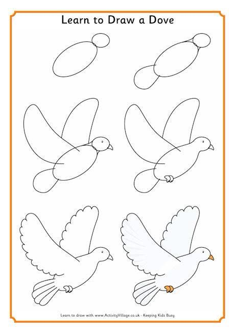 Learn to draw dove | Kids | Drawings, Dove drawing, Bird ...