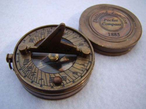 Antique Finish Brass Sundial Compass W Lid 27 Chain Bag Small Mini Pocket Vintage Compass Compass Sundial