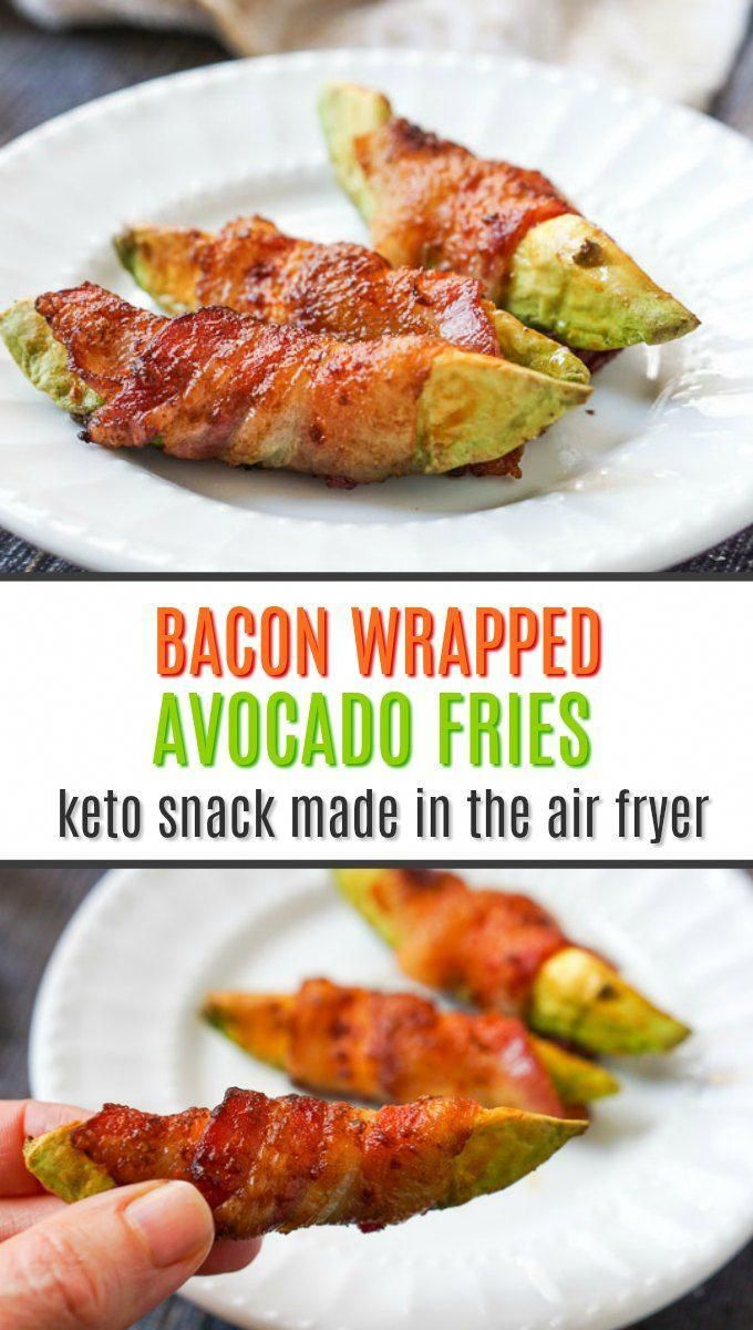 Easy Keto Bacon Wrapped Avocado Fries in the Air Fryer (3