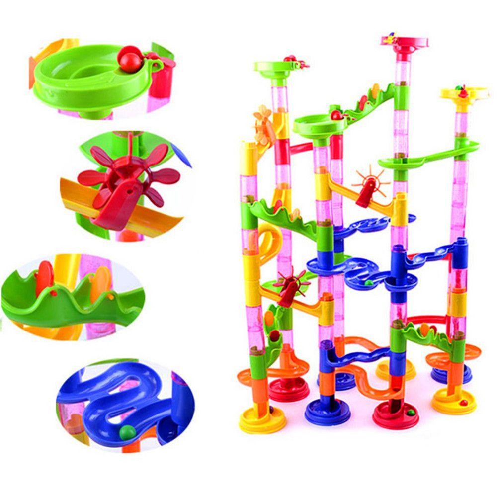 105Pcs DIY Construction Building Blocks Marble Race Run Maze Track Kids Toy Gift