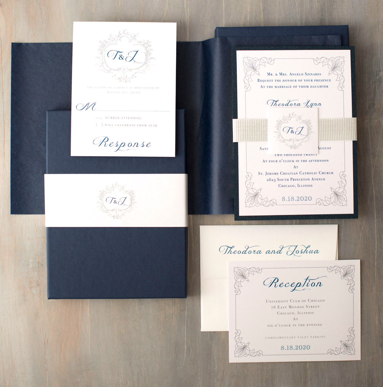Navy Wedding Invitations with Monogram, Modern Wedding Invites ...