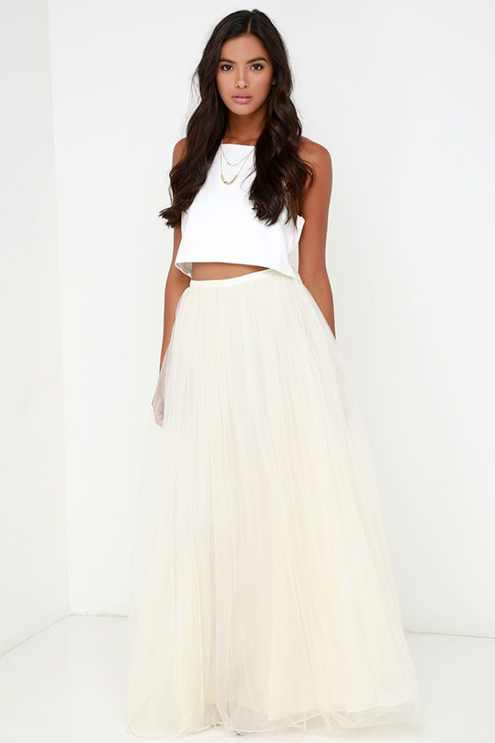 aa6c6b2c6d Scoop of Sorbet Cream Tulle Maxi Skirt | DREAM CLOSET | Skirts ...