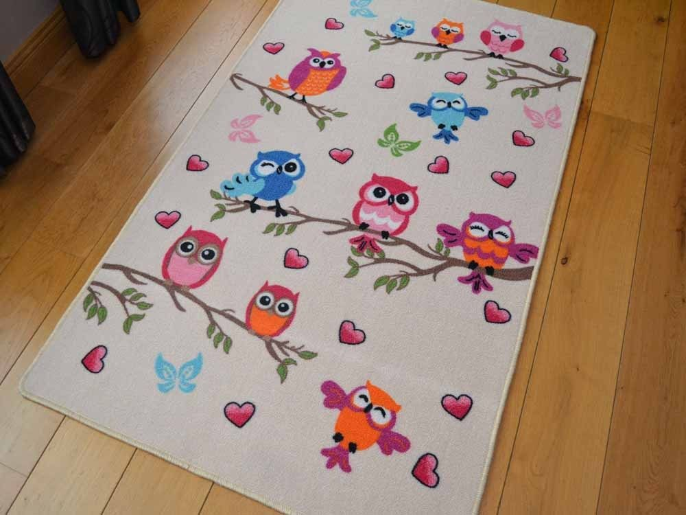 Details About New Bright Cute Owl Design Small Large Kids Rugs Childrens  Nursery Rug Mat Cheap