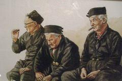 Drie vissers in Museum Zwartsluis, Overijssel, Nederland (Trudi)