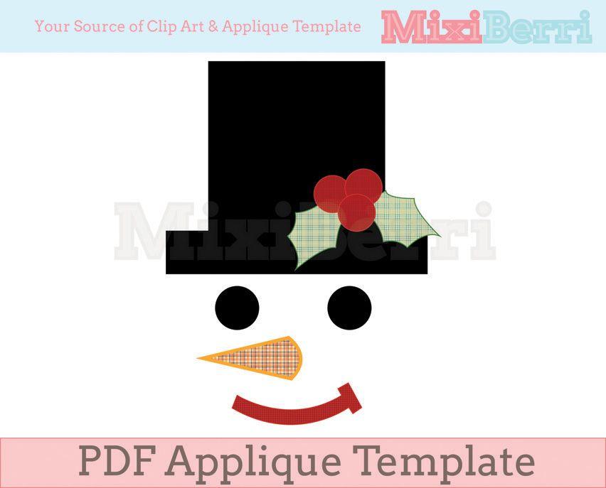 Snowman Face Applique Template PDF   Applique   Pinterest   Moldes ...