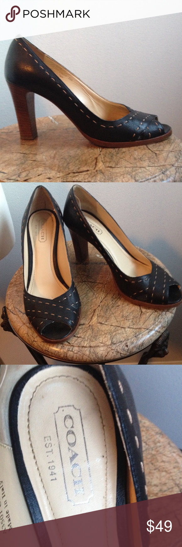 de17c4e7e88 Coach Shoes Sz 8.5 Clarice Style Open-Toed Pumps Made in Italy Black  Leather Pumps