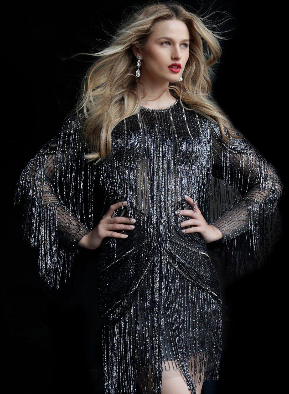 Jovani 61636 Fully Beaded Jewel Neck Sheath Dress Long Sleeve Short Dress Cocktail Dress Style Dresses [ 1500 x 1100 Pixel ]