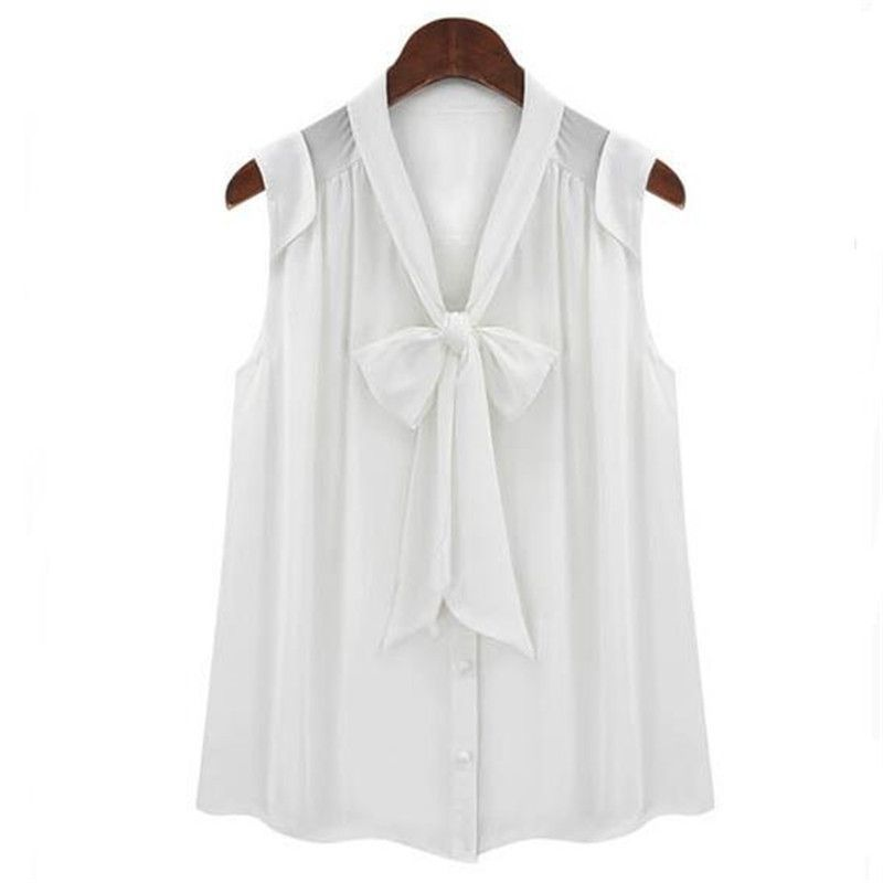 6c57c9a17c624 White Black Color Sleeveless Chiffon Blouse for Women Summer Front Bow Tie  V Neck Preppy Style
