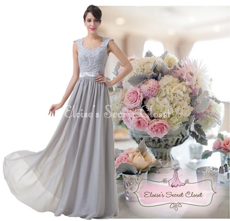 Riva silver grey lace chiffon maxi bridesmaid ballgown dress www riva silver grey lace chiffon maxi bridesmaid ballgown dress eloises secret closet ombrellifo Images