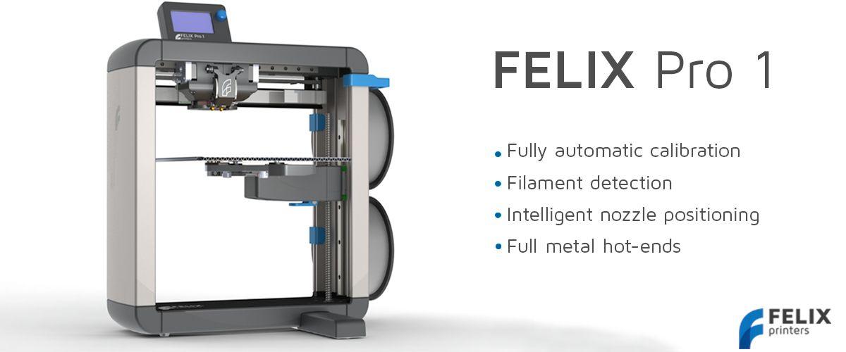 FELIXprinters 3D on julkistanut Pro 1 3D-tulostimen. Katso video uusista ominaisuuksista. Niistä mainittakoon automaattinen kalibrointi, filamentin tunnistin, irroitettava tulostuspeti, täysmetalliset suuttimet pikakiinnityksellä. Suutin myös kääntyy sivuun, kun toinen suutin tulostaa. Tulostusala 255x245x225mm.