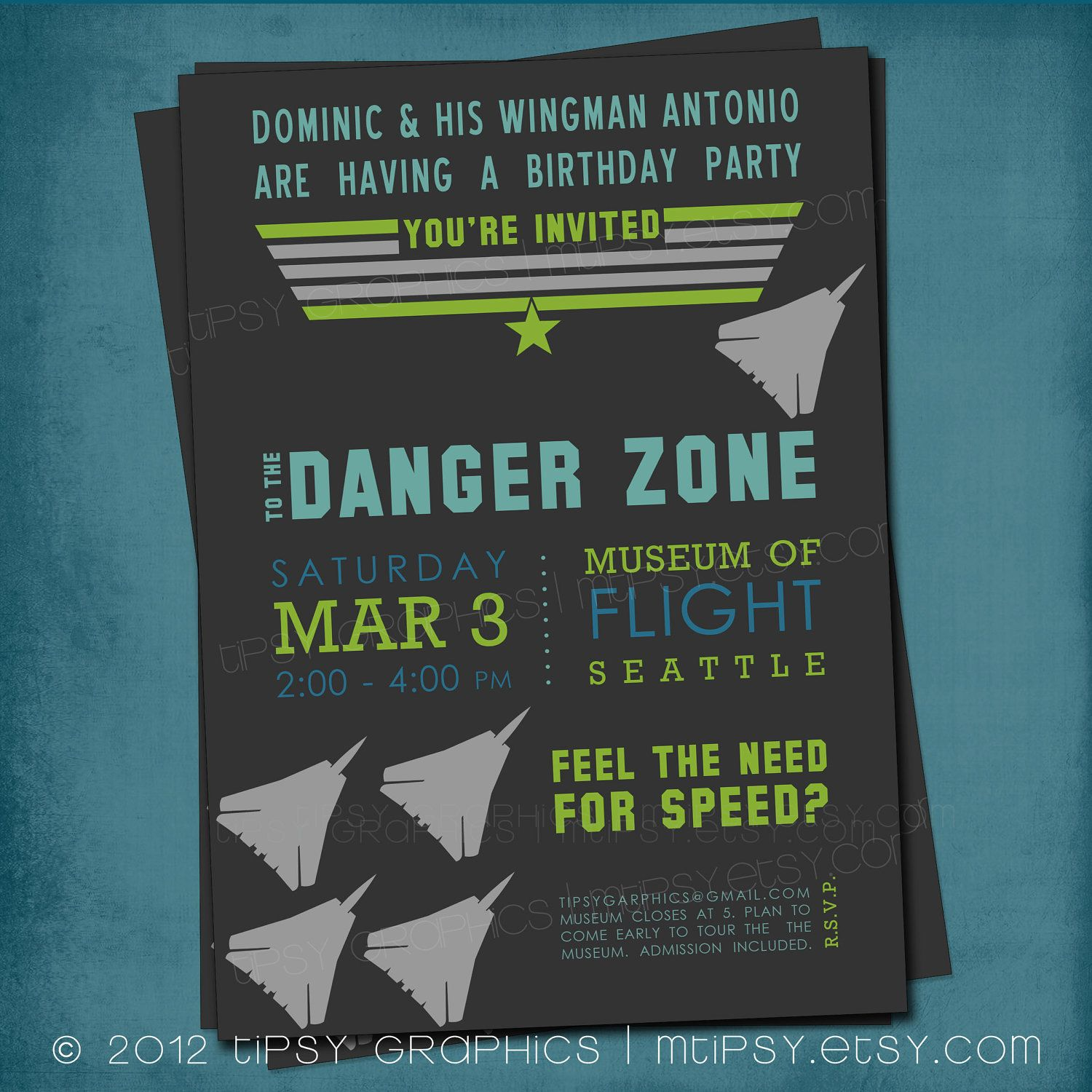 Top Gun Inspired Fighter Jet Birthday Party Invite by Tipsy Graphics ...