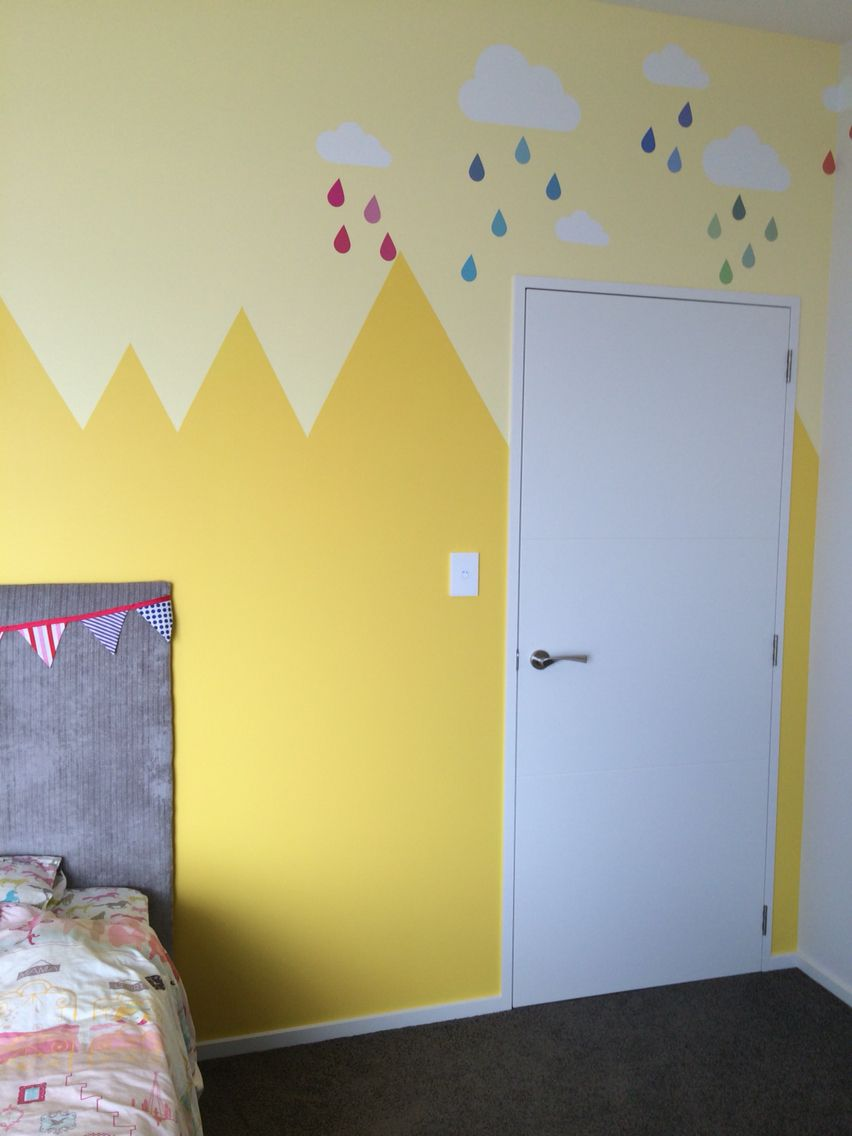 Zig zag chevron mountain half wall paint design yellow girls room ...