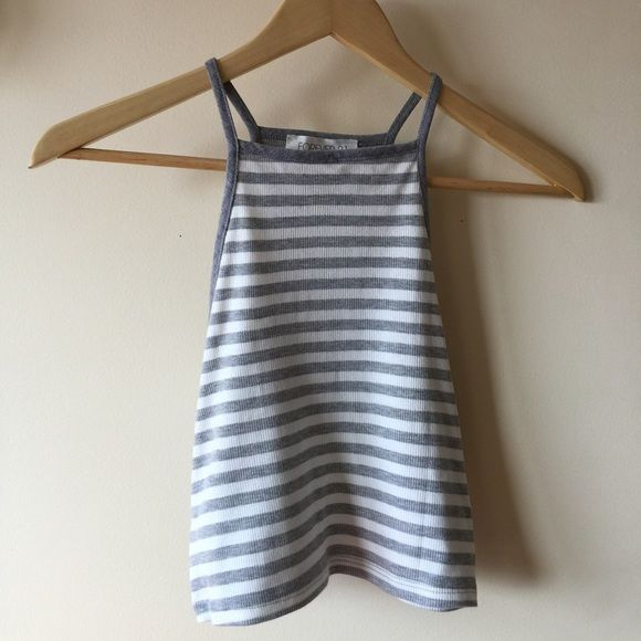 Striped High Neck Tank I've worn this once! Snug comfortable fit, true to size. Looks great with high waisted shorts, perfect for spring. Forever 21 Tops Tank Tops