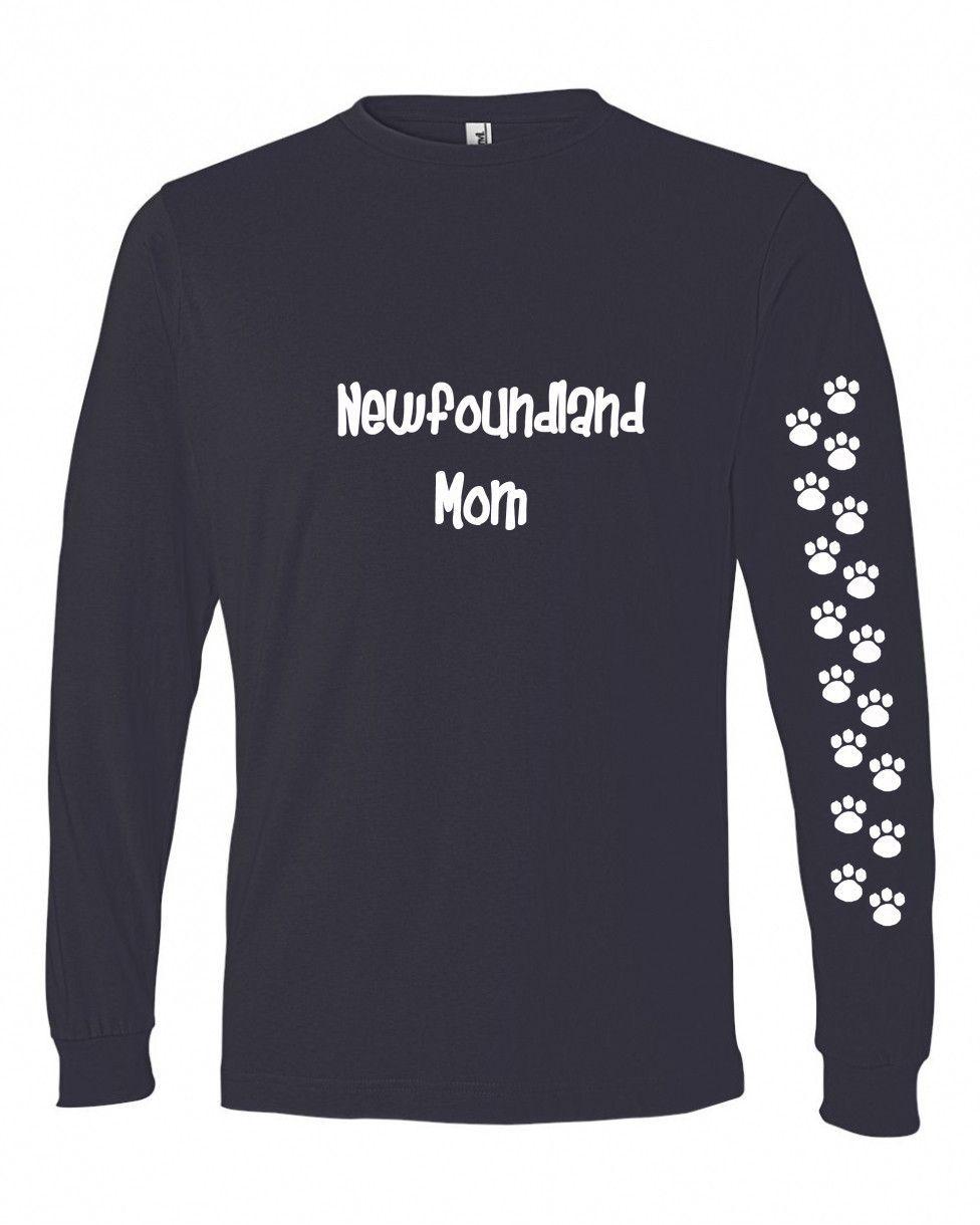 Newfoundland Mom Tshirt Ladies Cut Blue Long Adult Small