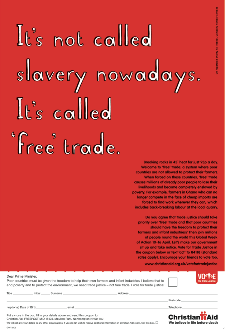 Christian Aid Free Trade Art Director Dave Dye Writer Sean Doyle With Images Forced Labor Trade Union Poor People