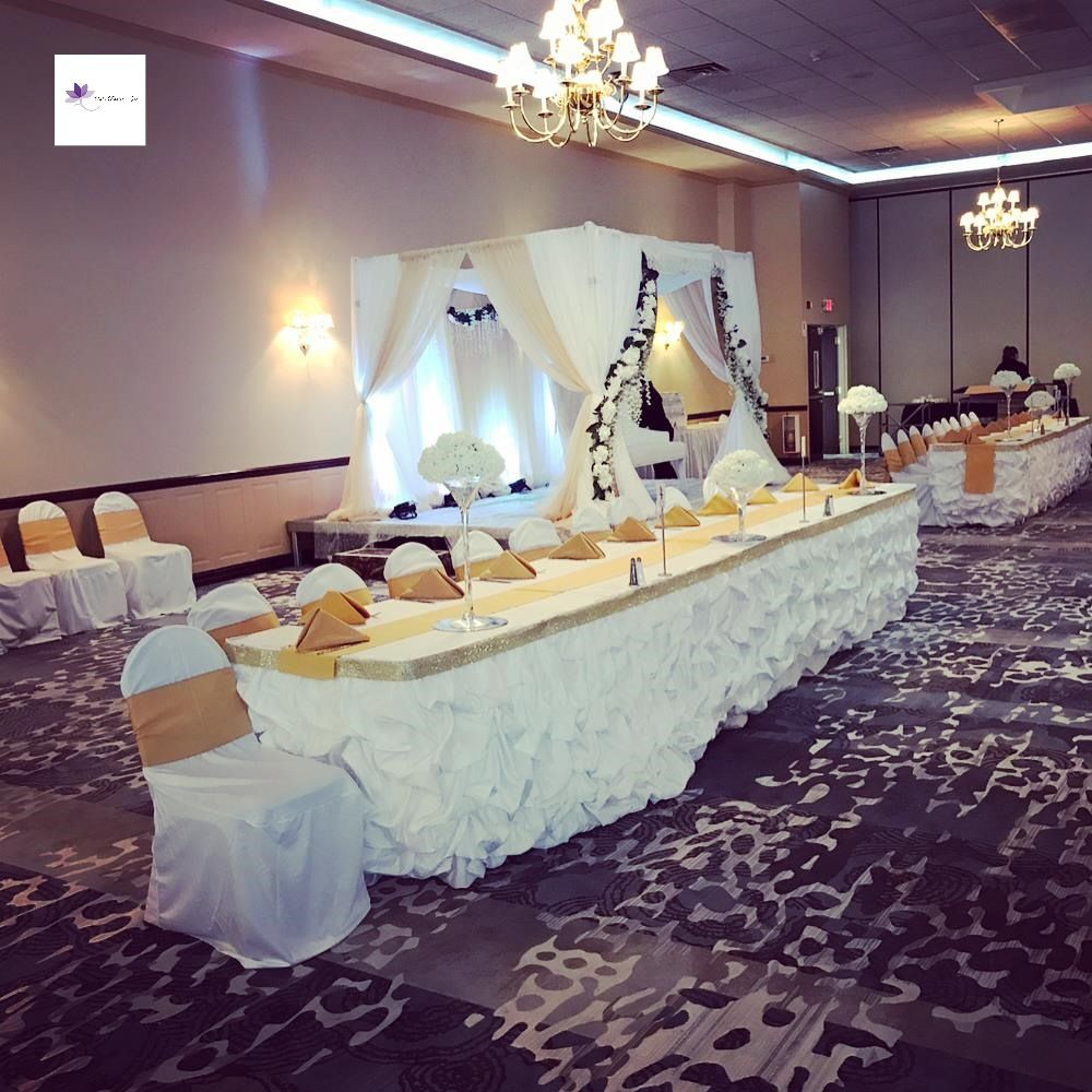 White Reception Wedding Canopy Backdrop Rental With Head Table