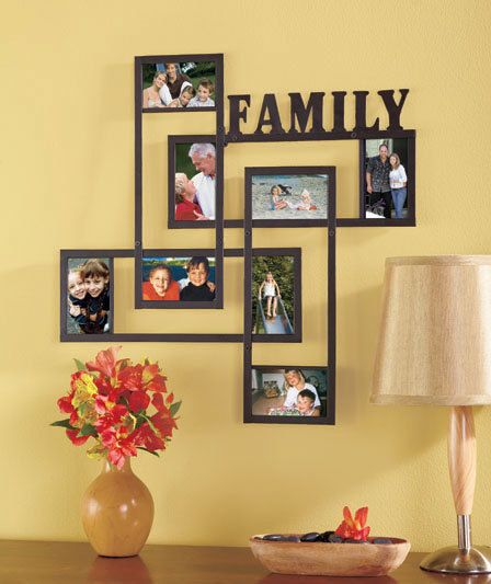 New Family Metal Geometric Collage Wall Frame Holds 8 3\