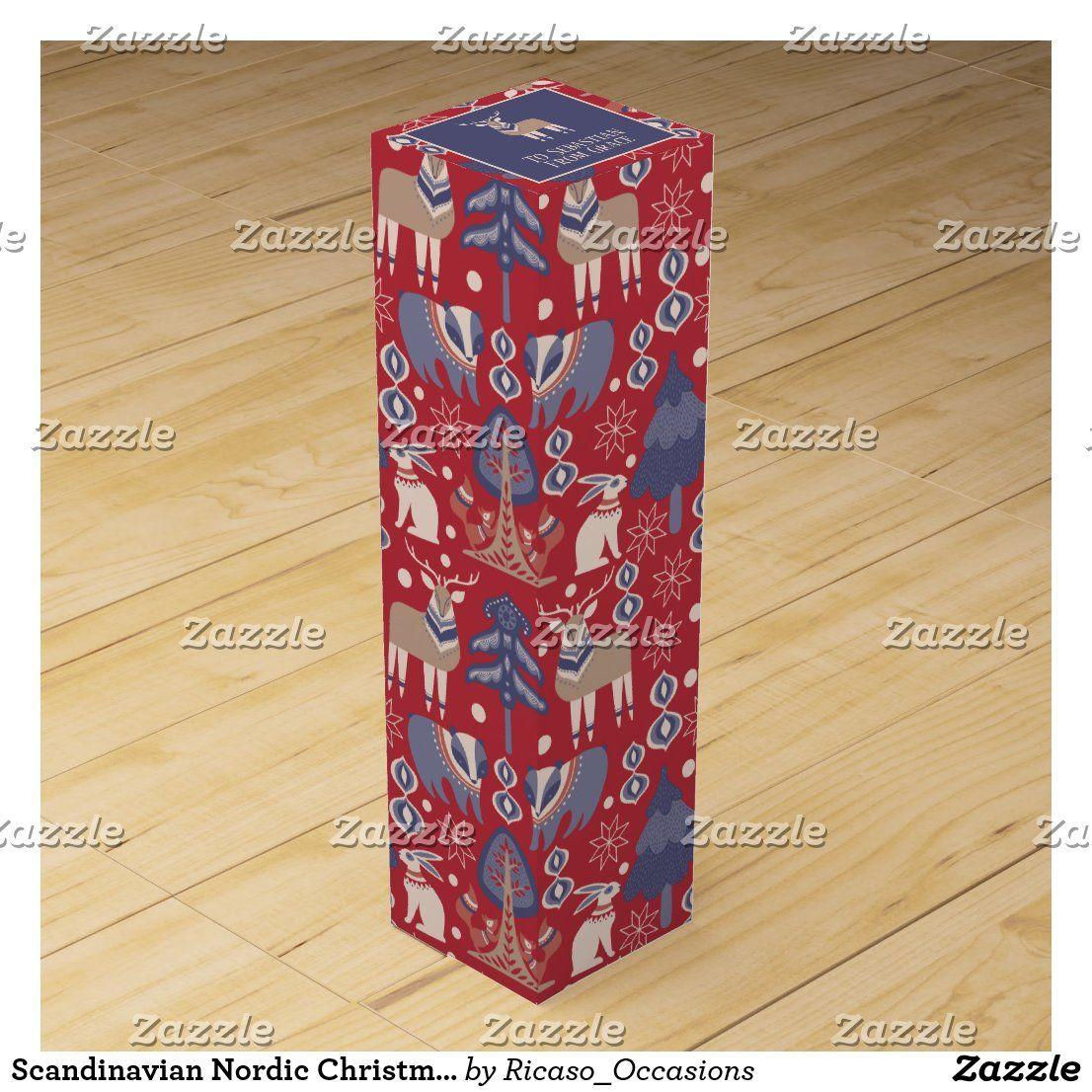 Scandinavian Nordic Christmas Personalized Wine Box In 2020 Personalized Wine Box Custom Wine Box Wine Box