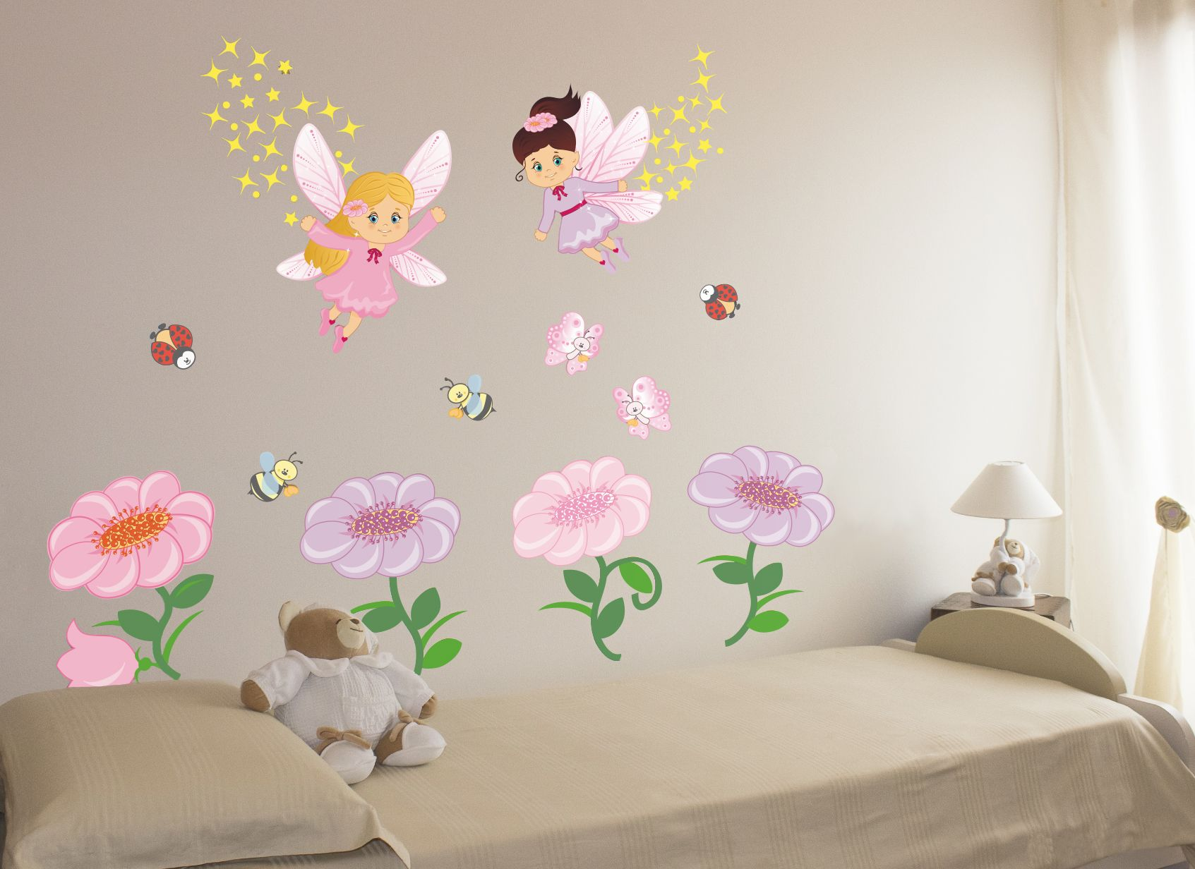 Sfondi Bambini ~ Wall stickers bambini adesivi murali. kit le fate dei fiori