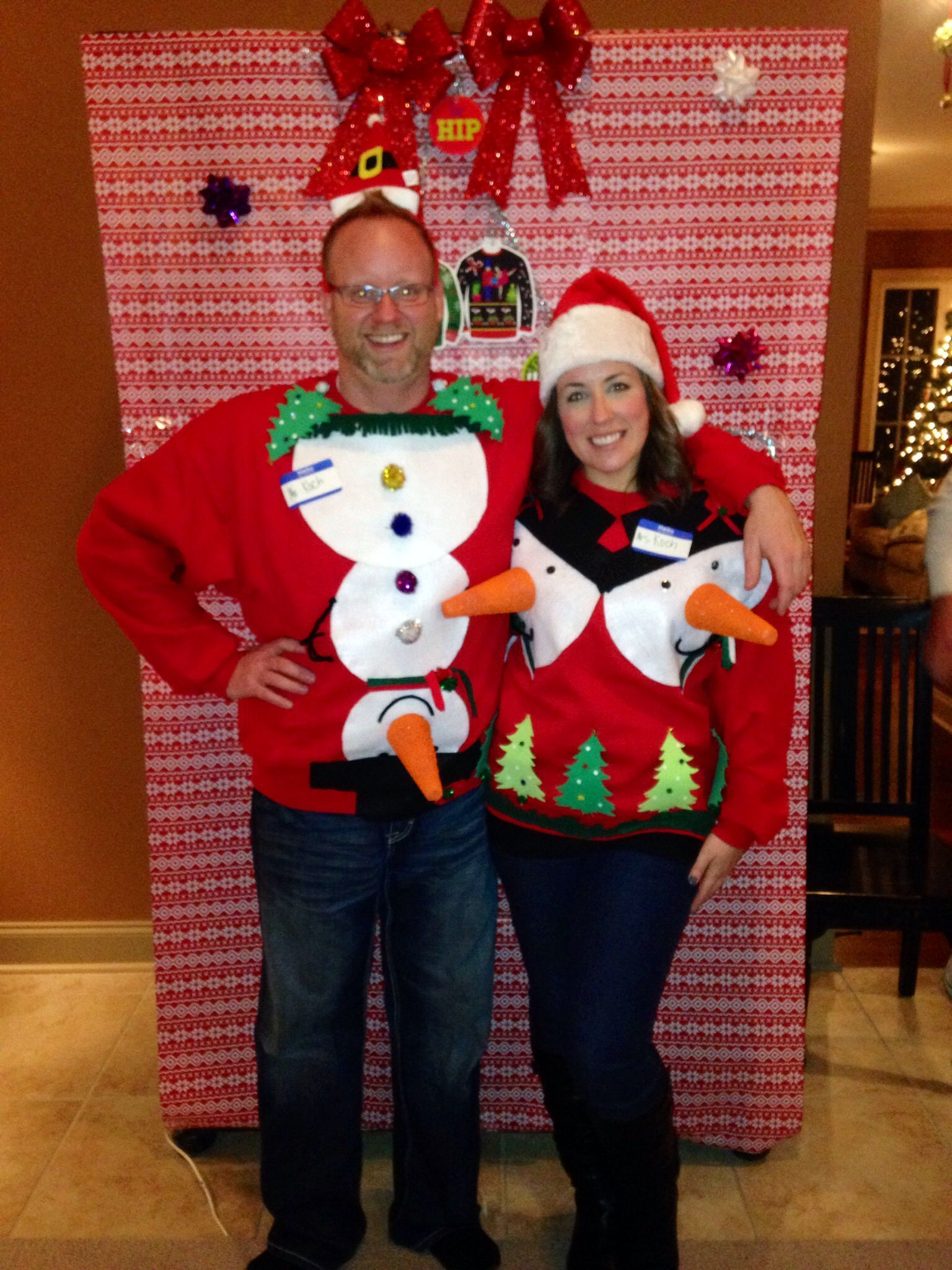 Our homemade tacky Christmas sweaters. First annual party