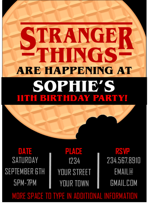 Stranger Things Party Invitation Editable Stranger