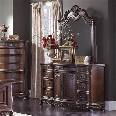 Deryn Park Traditional Cherry Wood Glass Dresser