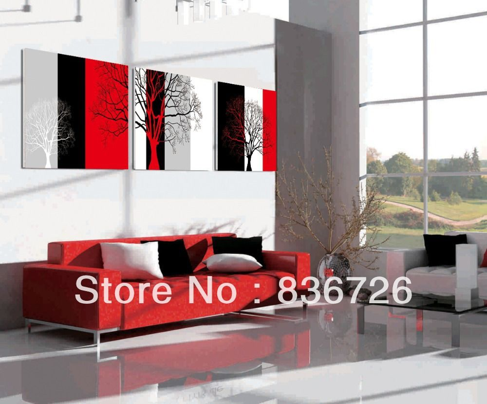Free shipping piece canvas wall art colorful abstract art black