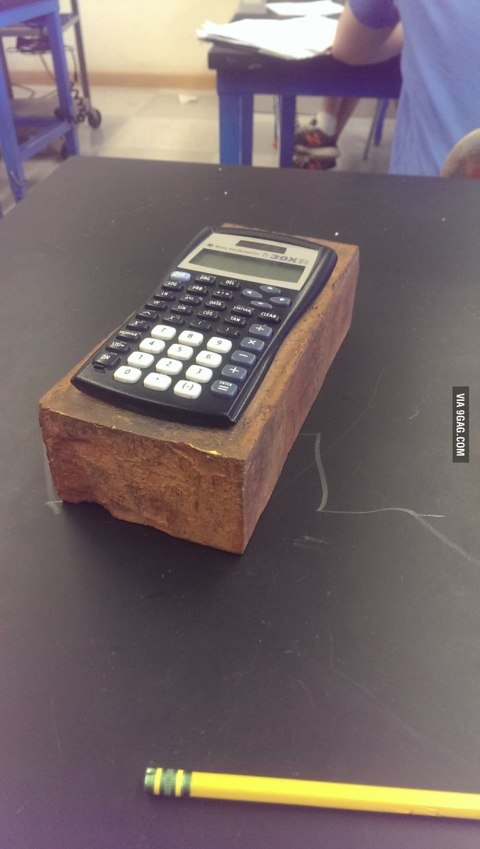 When Students Forget To Bring Their Calculator To Class The Teacher Gives Them The Brick Ulator So They Can T Steal It School Humor Teacher Humor Math Humor