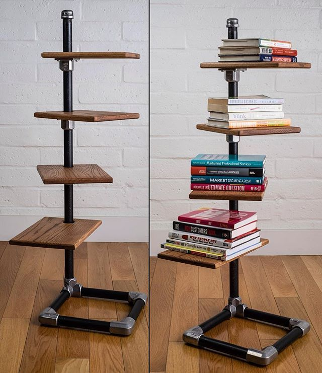 Amazing freestanding shelf built with keeklamp fitting and pipe pipefurniture industrial - Amazing shelves ...