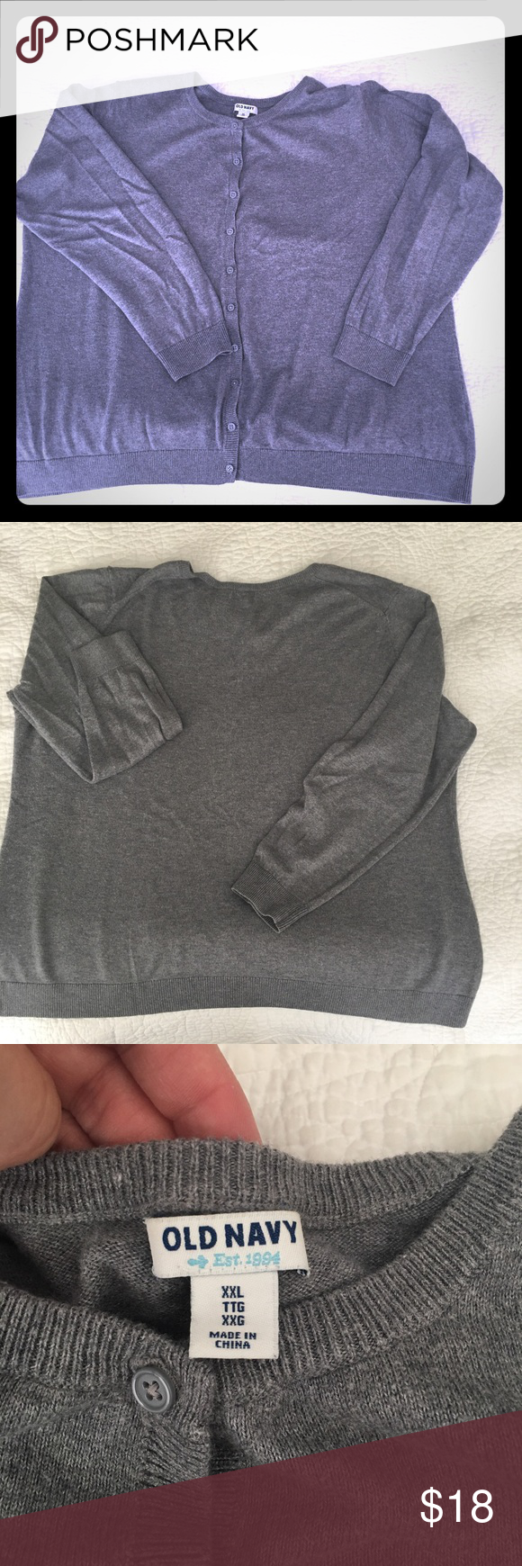 •Old Navy• Gray Cardigan This soft, gray-colored cardigan pairs well with jeans, skirts and dresses. Wear buttoned-up or open, and toss in your bag for later. Machine-washable, no damage. Smoke-free home. Old Navy Sweaters Cardigans