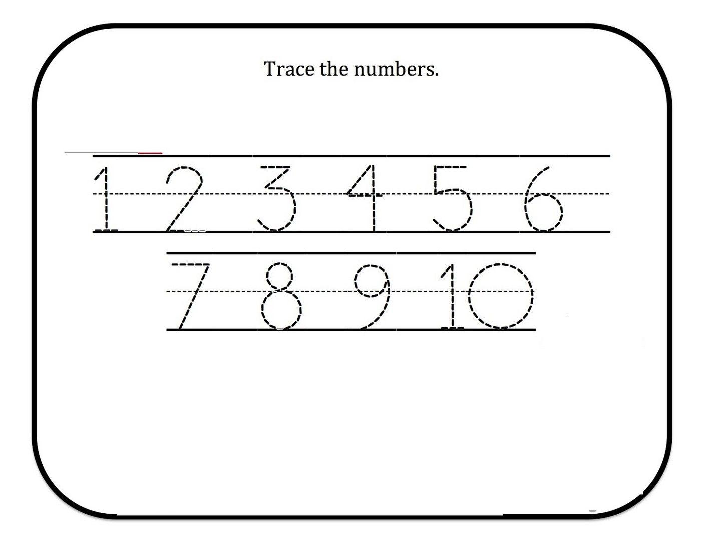 tracing numbers for kg worksheet 1-9 | Kids Worksheets Printable ...