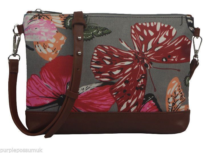 Small grey crossbody messenger shoulder bag with a Butterfly pattern brown faux leather trim coated canvas matt finish oilcloth style fabric The bag