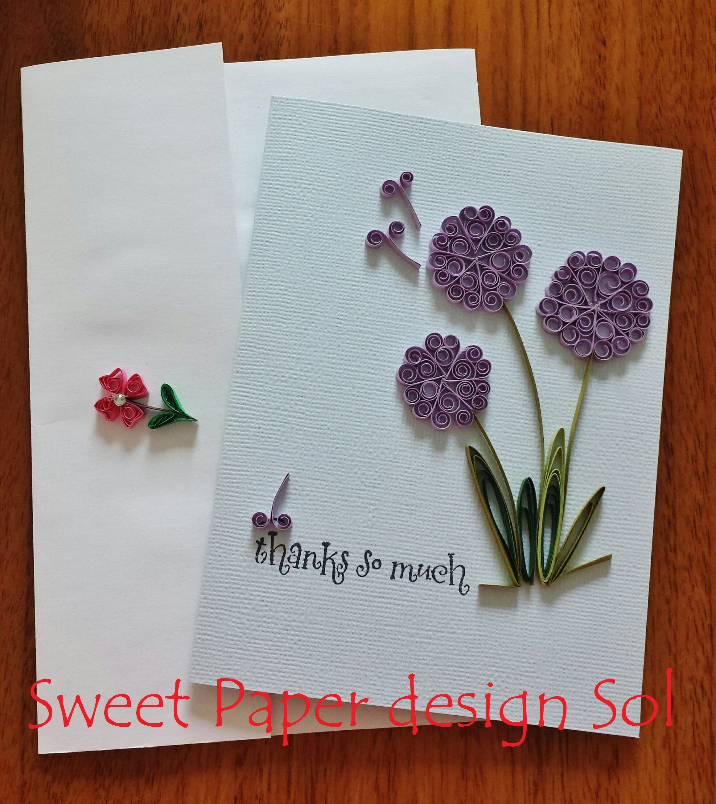 Paper Quilled Beautiful Purple Flower Card For Graduation C