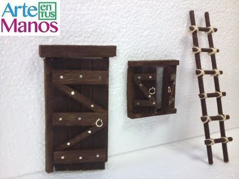 Imitacion De Una Puerta De Madera Imitation Wooden Door Youtube Belenes De Madera Belenes Miniaturas