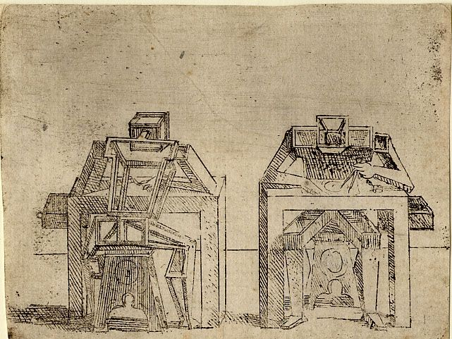 Giovanni Battista Braccelli: Bizzarie di varie figure ... 1624.Plate 34: two cubic figures seated at desks
