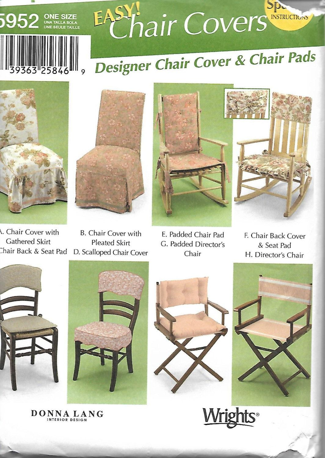 Simplicity 5952 Donna Lang Easy Chair Covers Sewing Pattern, UNCUT By  DawnsDesignBoutique On Etsy