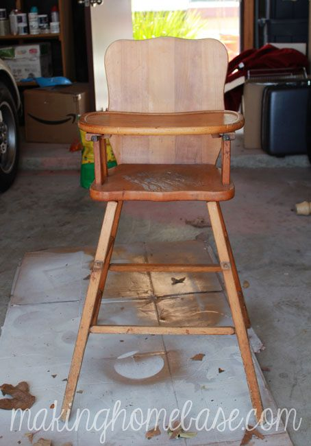 Vintage Wooden High Chair Painted with Annie Sloan Chalk Paint - Wooden High Chair With Annie Sloan Chalk Paint Wooden High Chairs