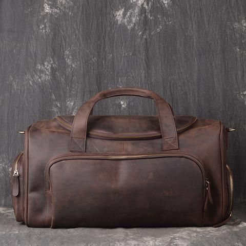 77cf2989b31f Large Full Grain Leather Gym Bag