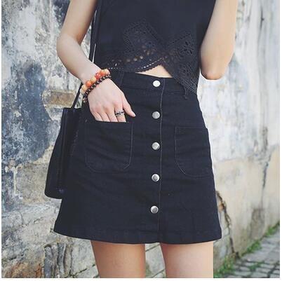 Cheap Cintura alta pantalones vaqueros botones de la falda una línea de  negro de… 61d807a1b53f