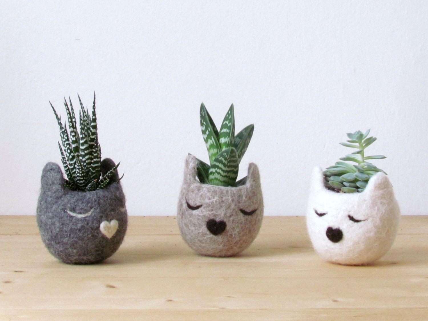 Felt succulent planter / Kitty cat vase / by theYarnKitchen
