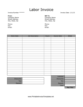 This Printable Labor Invoice Covers Work Dates Job Descriptions