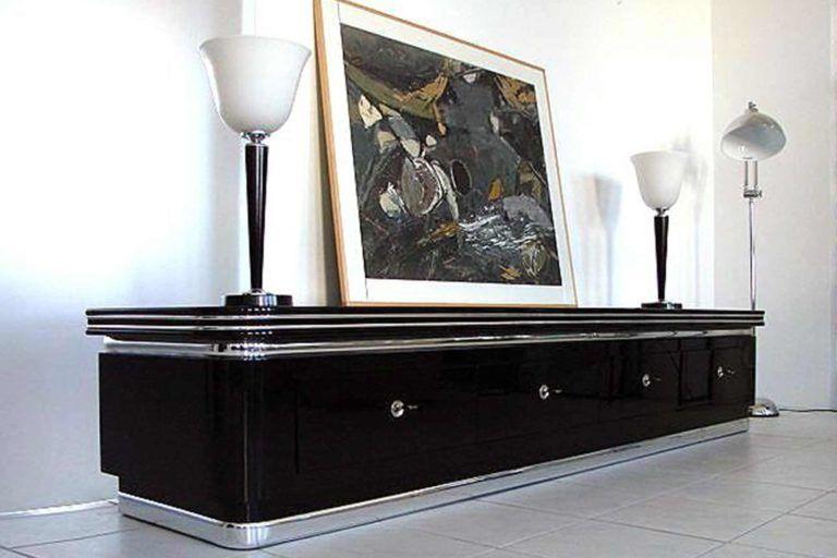 Art Deco Sideboard Lowboard Klavierlack Schwarz Lack Mobel Haus