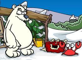 esse é herbert p. bear o urso polar que mais odeia o club penguin e quele carangueijo é o klutzy o seu melhor amigo quero dizer o que unico amigo.